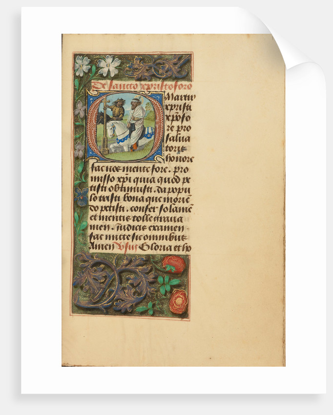 Initial O: Saint Christopher by Master of the Dresden Prayer Book