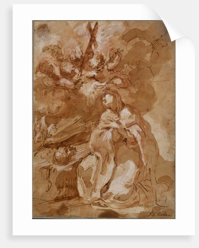 A Female Saint Contemplating a Crucifix by Giovanni Antonio Guardi