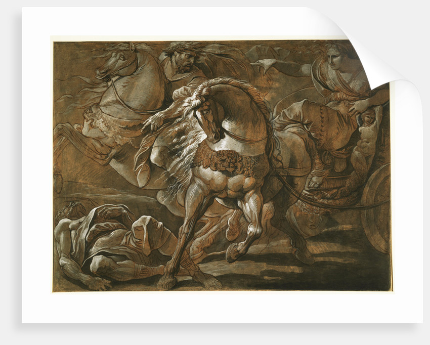 Tullia about to Ride over the Body of Her Father in Her Chariot by Giuseppe Cades