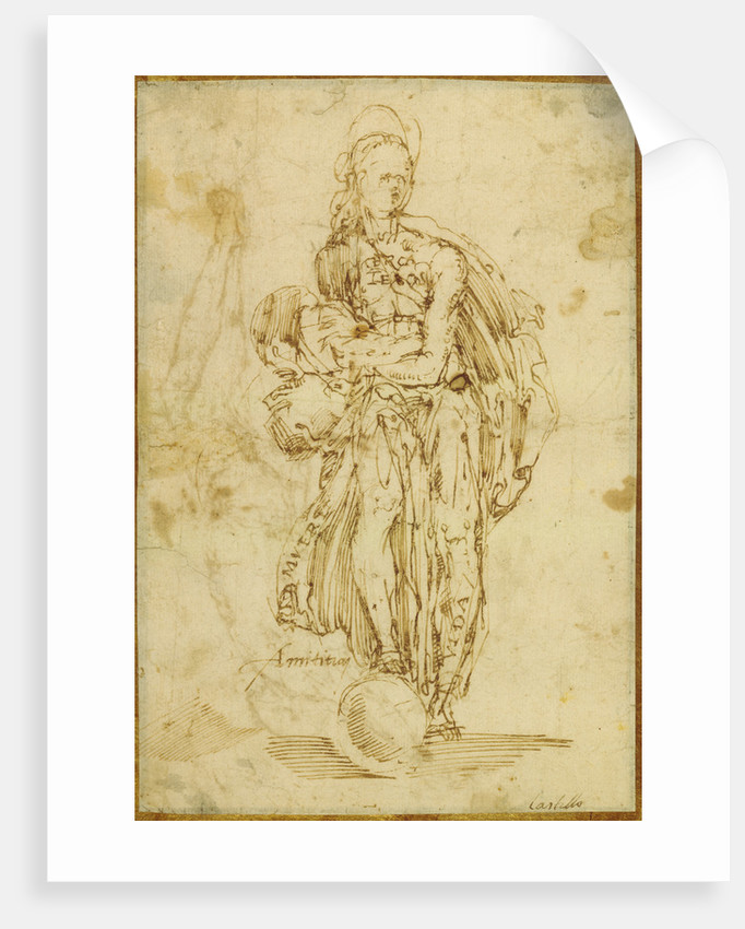 Allegorical Figure of Friendship (recto), Christ on the Cross (verso) by Juan del Castillo