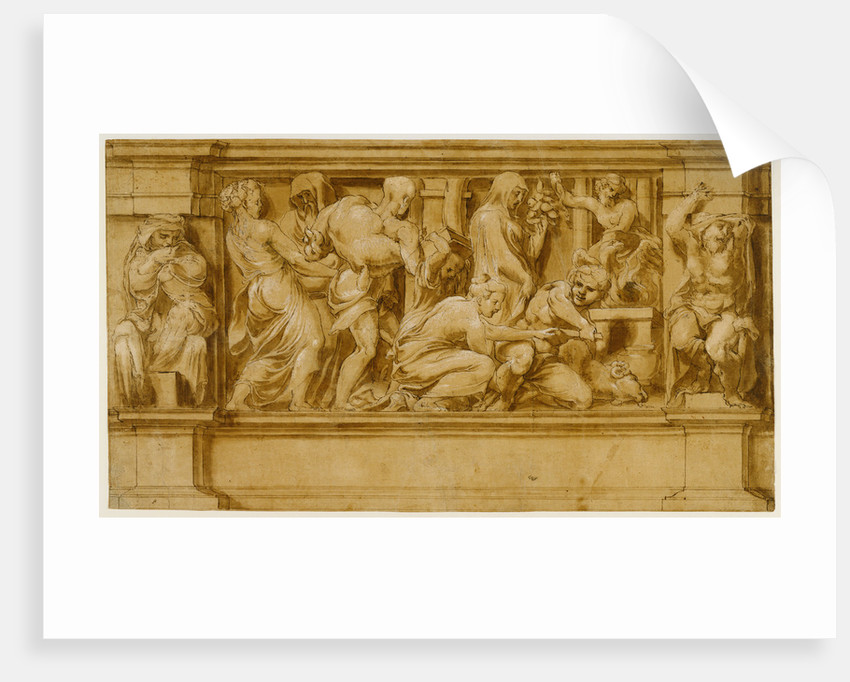 Design for a Frieze with Worshipers Bringing Sacrificial Offerings by Lelio Orsi