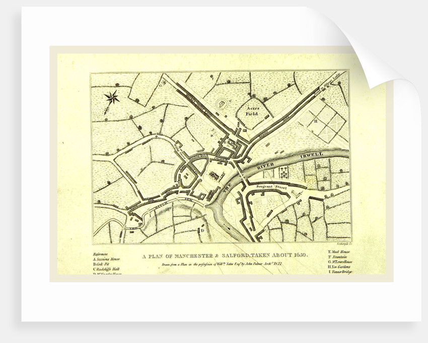 Map of Manchester and Salford about 1650, UK posters & prints by ...