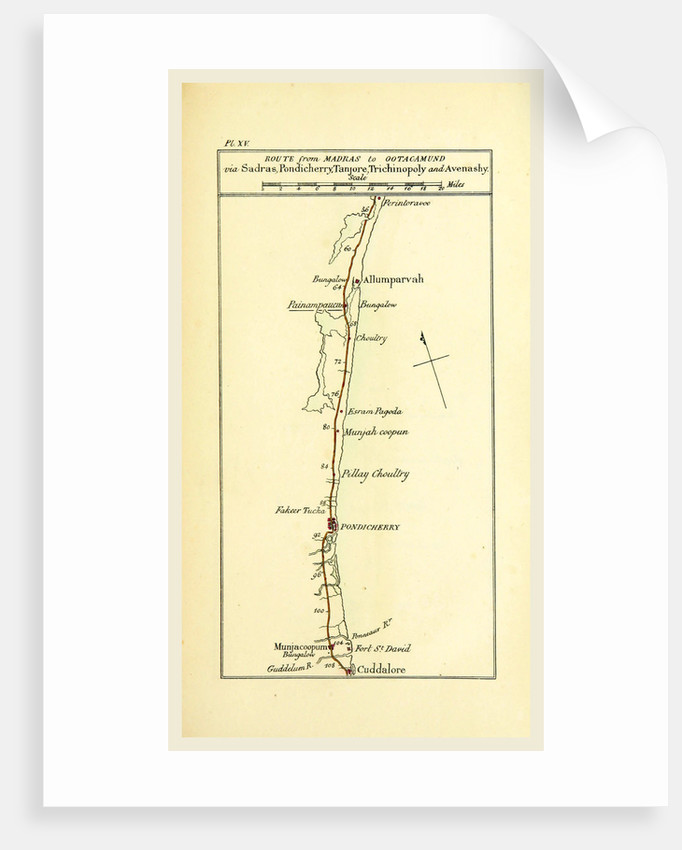 Observations on the Neilgherries, map of the route from Madras to Ootagamund by Anonymous