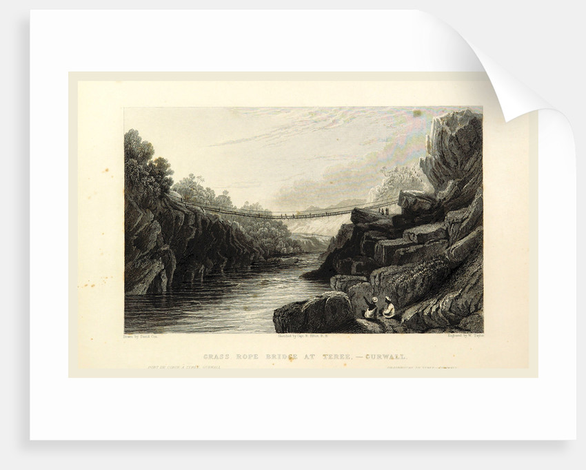 Grass rope bridge at Teree, Gurwall, Views in India by Anonymous