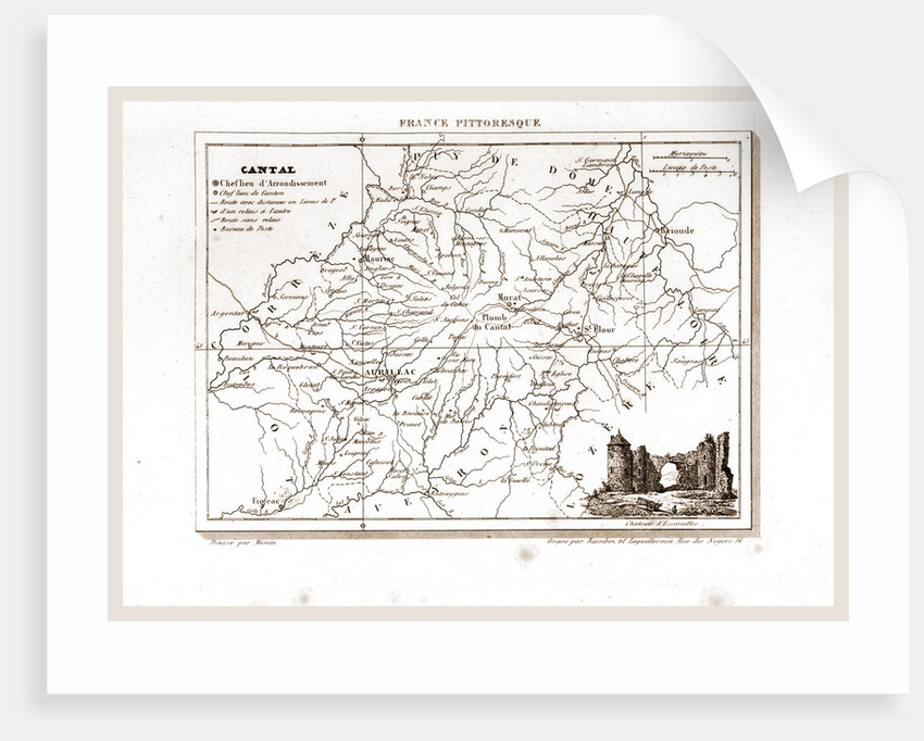 France pittoresque, Cantal, map by Anonymous