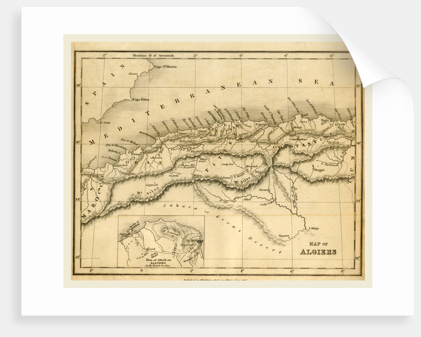 Map Algiers, 19th century by Anonymous