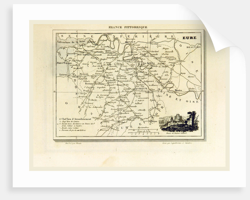 Eure, France pittoresque, map by Anonymous
