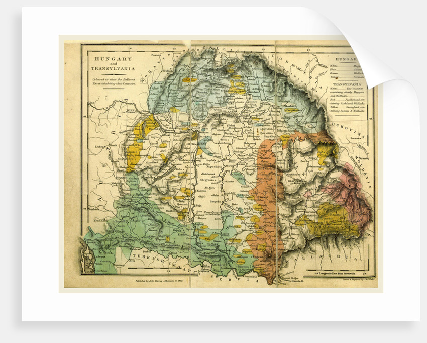 Hungary and Transylvania map by Anonymous