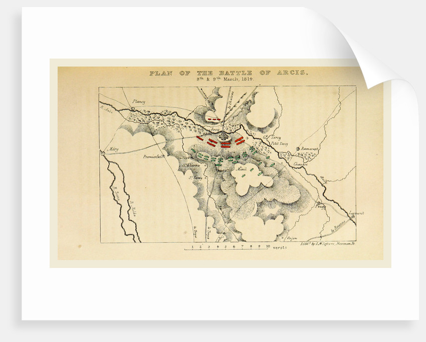 Map of the battle of Arcis, 1814, History of the Campaign in France in the year 1814 by Anonymous