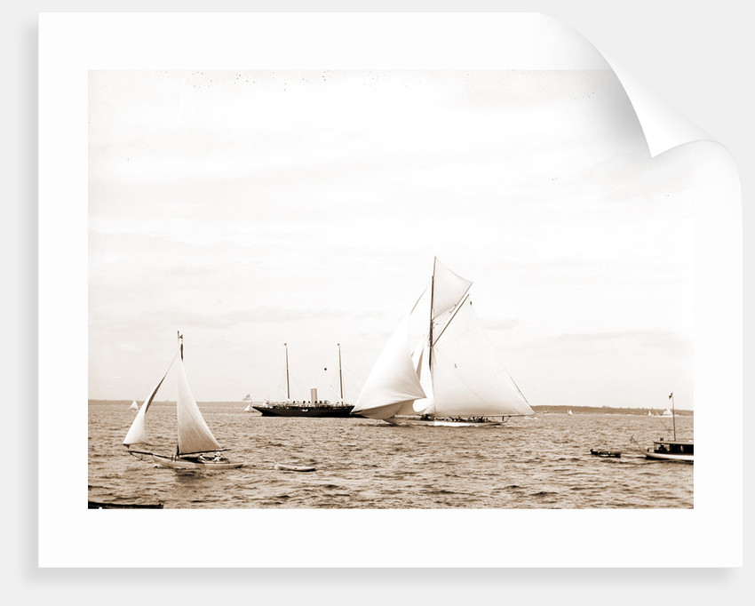 Columbia at start, Columbia (Sloop), 1899 by Anonymous