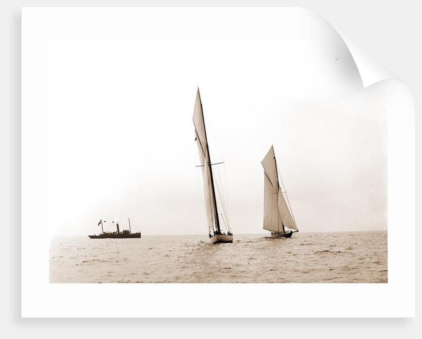 Columbia and Shamrock I maneuvering for the start, Columbia (Sloop), Shamrock I (Yacht) by Anonymous