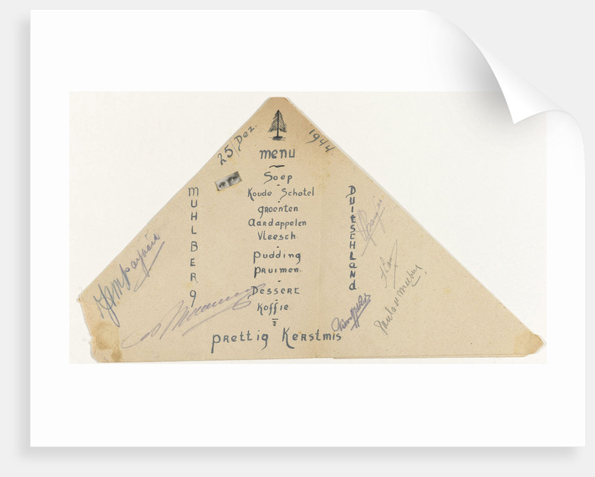 Christmas Menu, December 25, 1944, a prisoner of war camp Stalag dinner at the IV B Mühlberg a / d Elbe Germany by Anonymous