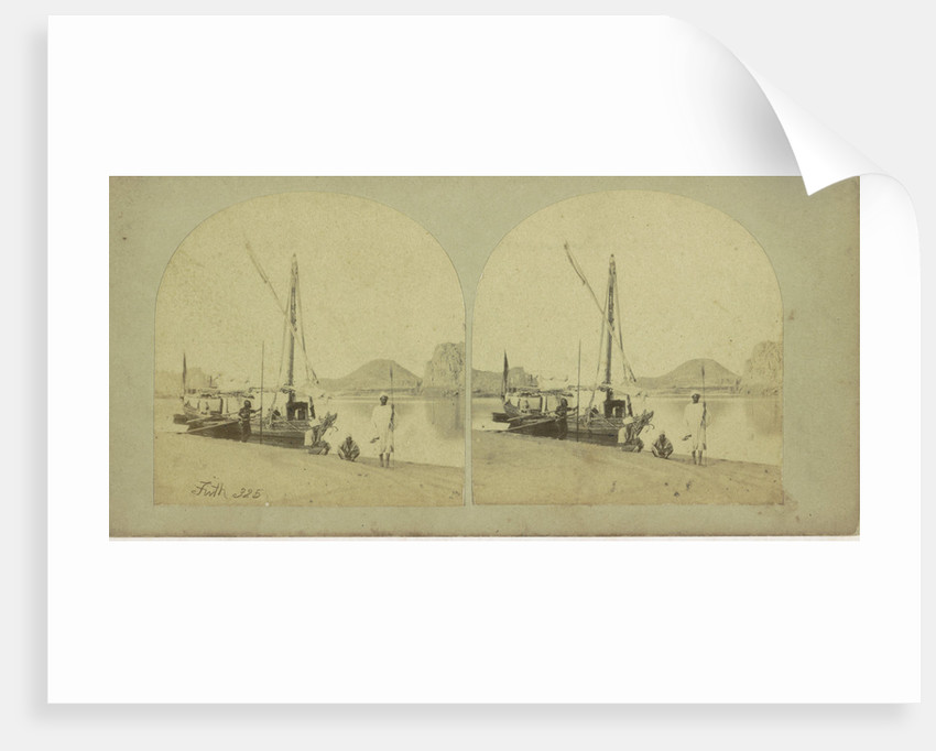 Traveller's Nile Boat or Dahabeeh with Nubian scenery and figures, or Dahabeeh by Anonymous