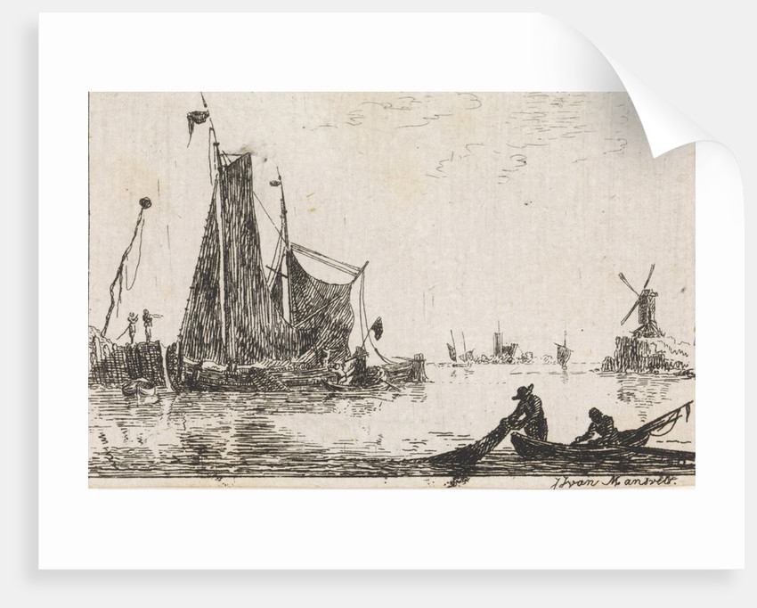 A river view with in the foreground a boat with fishermen get their nets by Jan Izaak van Mansvelt