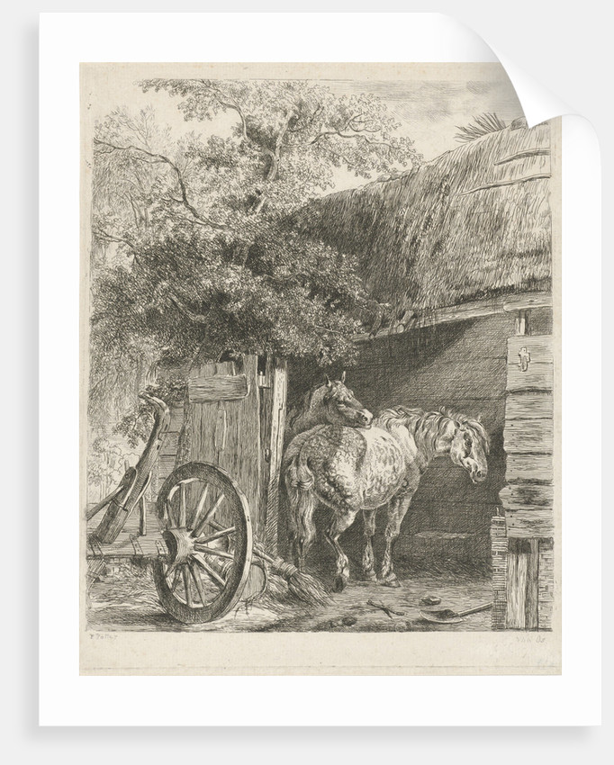 Two horses in a barn, Pieter Gerardus van Os by Paulus Potter