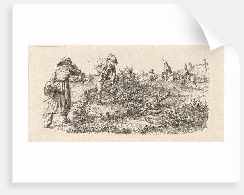 A woman with a basket and soldiers on horseback by Jacob Ernst Marcus