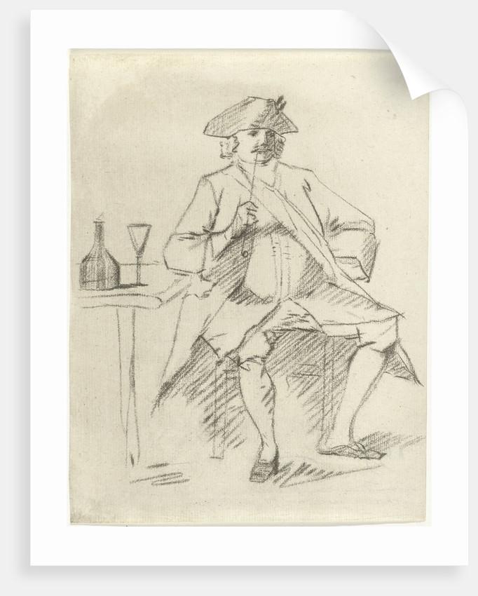 Man with a pipe sitting at a table, Cornelis van Noorde by Cornelis Troost
