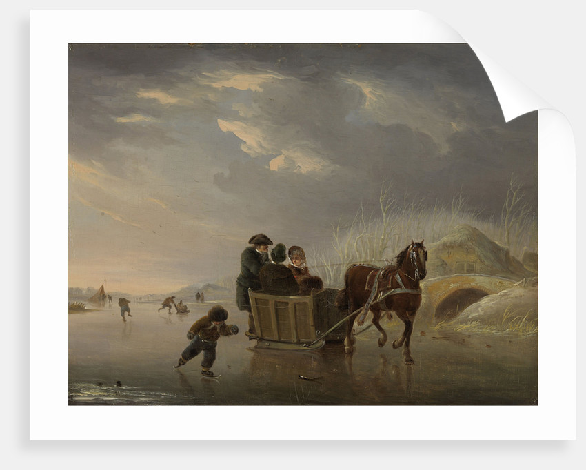 Winter Scene, Horse-Sleigh on the Ice by Andries Vermeulen