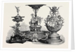 The Ascot Races Prize Plate: The Royal Hunt Cup Left the Ascot Cup Centre the Queen's Gold Cup Right 1869 by Anonymous