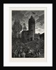 The Tower of Galata, a Fire, Constantinople, Istanbul, Turkey by Anonymous
