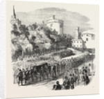 Funeral of the Late Marquis of Ormonde. The Procession Leaving Kilkenny Castle 1854 by Anonymous