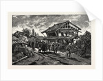 The Great Earthquake in Japan, Views at the Scenes of the Disaster: Street of Kanda-Machi at Gifu, the Funeral of One of the Victims at Daybreak by Anonymous