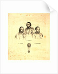 Portraits of Three Balloonists Ippolito Caffi, Francesco Arban, and G. Seiffard, with a Small View of Them in an Ascending Balloon, Rome, 1847, Italy by Anonymous