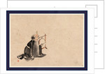 A Monk Wearing a Mask(?) with a Horn, Sitting on the Ground Beating a Drum (Tsuri-Daiko) by Anonymous