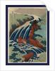 Washu yoshino yoshitsune uma arai no taki, Yoshitsune Umarai waterfall at Yoshino in Washu by Katsushika Hokusai