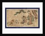 Matsu no sita no tokei, Cockfight under a pine tree by Teisai Hokuba