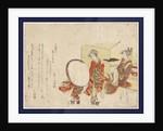 Hikitejaya mae no yuki usagi, Presenting a snow bunny on a tray in front of a tea shop by Katsushika Hokusai