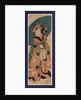 Tenaraicho o motsu musume, Young lady carrying a calendar by Utagawa Kunisada