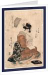 Sayogoromo misa tatejima, Faithful stripes of the night robe by Kikukawa Eizan