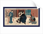 Igami no gonta gonta nyobo kosen shume kokingo, Actors in the roles of Igami no Gonta, Gonta's wife Kosen, and the Kokingo by Utagawa Kuniyoshi