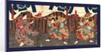 Sogano juro sukenari soga no goro tokimune tegoshi no sukuna, Actors in the roles of Soga no Juro Sukenari, Soga no Goro Tokimune, and Tegoshi no Tsukuna by Utagawa Toyokuni