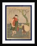 Musume o seotte kawa o wataru hotei, Hotei carrying a young girl piggyback by Suzuki Harunobu