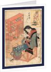 Gebho no atamazori, Shaving a monk's head by Utagawa Toyokuni