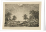 Landscape with Figures near a bridge by Remigius Adrianus Haanen