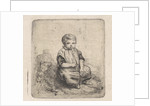 Little boy blowing on a whistle by Theodore Schaepkens