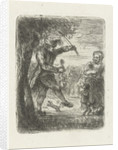 Street musician with violin and dancing dog by Jan Chalon