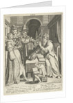 Seventh life of seventy year old man who gives his children counsel, Assuerus of Londerseel by Nicolaes de Bruyn