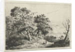 Landscape with trees and figures by Constantinus Cornelis Huysmans
