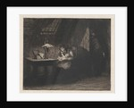 Woman with child by lamplight by Willem Steelink II