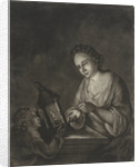Boy receives money from a woman by Jacob Hoolaart