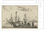 Harbour Scene with a landing boat by Reinier Nooms