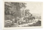 Shepherds with herd near cave by Frédéric Théodore Faber
