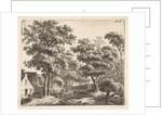 Buildings along a forest trail, Anthonie Waterloo by Josua & Reinier II Ottens
