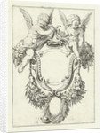 Cartouche with garlands and two seated putti by Anonymous
