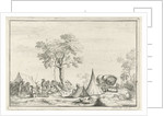 encampment with a pointed tent by Hendrik Hoogers