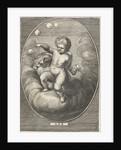 Element air as a child blowing bubbles on cloud by Abraham van Diepenbeeck